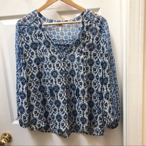Joie floral blue white  silk top